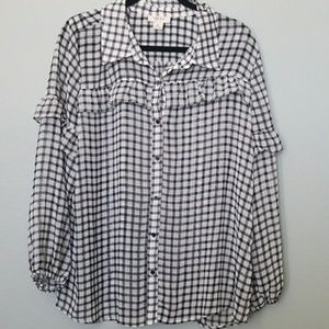 Style & Co. XL ruffle gingham top